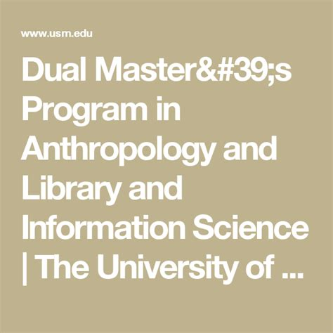 Dual Master's Program in Anthropology and Library and