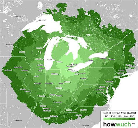 Map: Driving on $50 from Detroit | DETROITography
