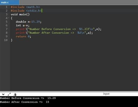 How to convert double to int in C simply by a function and