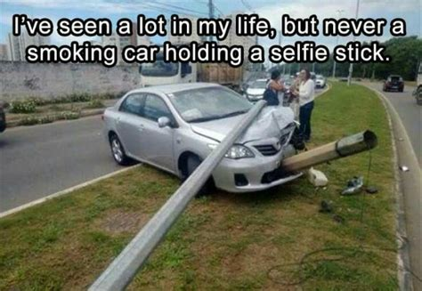 Funny Friday: Smoking Car Holding a Selfie Stick - Happy
